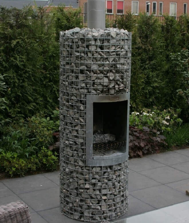 stone gabion fireplace